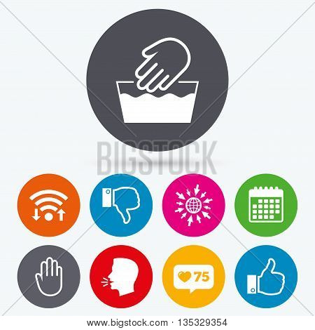 Wifi, like counter and calendar icons. Hand icons. Like and dislike thumb up symbols. Not machine washable sign. Stop no entry. Human talk, go to web.