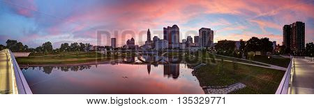 Scioto River and downtown Columbus Ohio skyline panoramic at dawn
