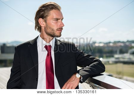 Blond businessman looking at the landscape from the rooftop