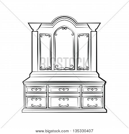 Dressing table Ornamented mirror furniture. Vector sketch