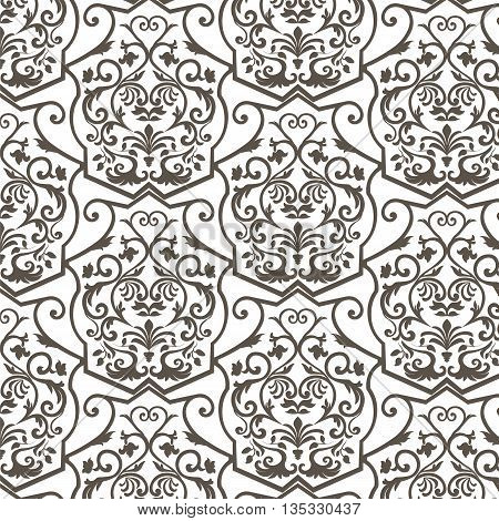 Vector Vintage Empire motif ornament pattern design. Traditional oriental style. Design element for wedding invitation cards backgrounds fabric texture etc.