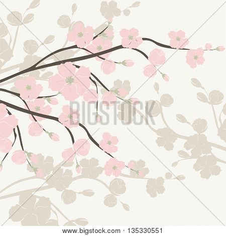 Vintage Watercolor Background with Blooming Apple Flowers. Flower blossom tree branch on serenity color. Vintage background for textile texture invitation greeting cards wedding etc