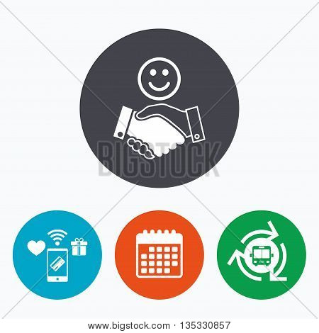 Smile handshake sign icon. Successful business with happy face symbol. Mobile payments, calendar and wifi icons. Bus shuttle.