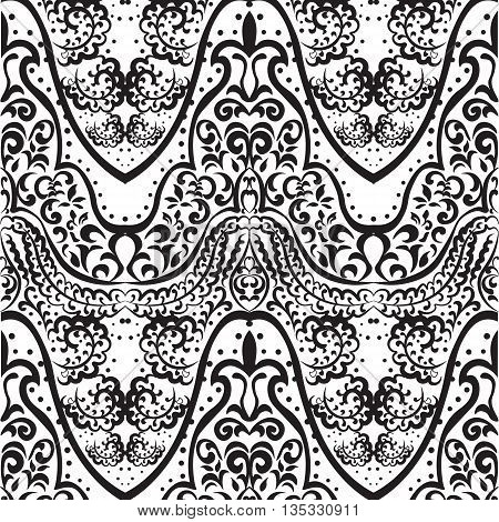 Vector vintage lace ornament pattern Indian style. Ornate element for design fabric textile. Ornamental floral for wedding invitations greeting cards backgrounds. Traditional decor. black color