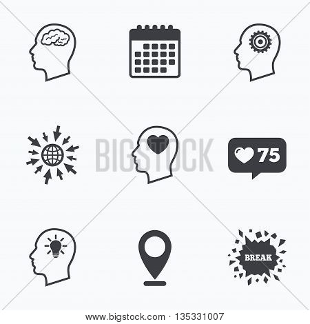 Calendar, like counter and go to web icons. Head with brain and idea lamp bulb icons. Male human think symbols. Cogwheel gears signs. Love heart. Location pointer.