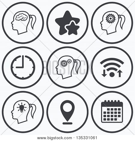 Clock, wifi and stars icons. Head with brain and idea lamp bulb icons. Female woman think symbols. Cogwheel gears signs. Calendar symbol.