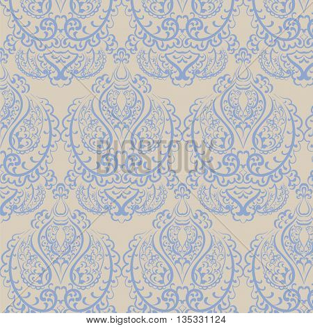 Vector Vintage Empire motif ornament pattern design. Traditional oriental style. Design element for wedding invitation cards backgrounds fabric texture etc. Blue color