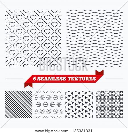 Diagonal lines, waves and geometry design. Hearts with circles lines texture. Stripped geometric seamless pattern. Modern repeating stylish texture. Material patterns.