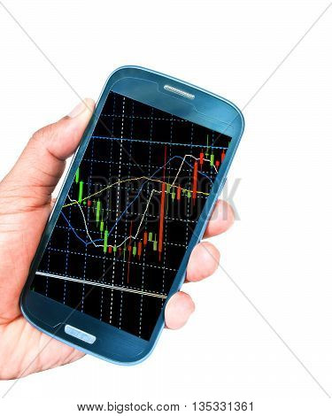 hand holding cellphone with stock exchange screen.Forex.