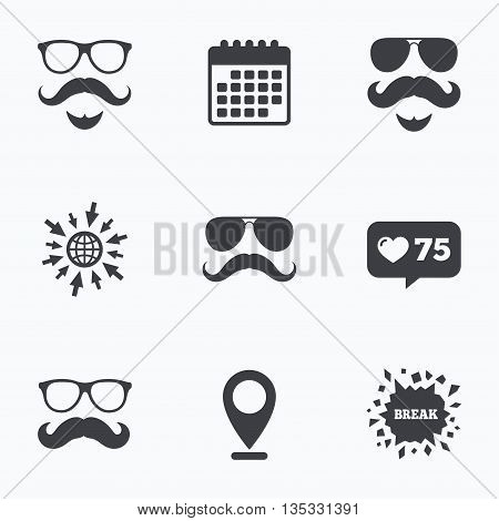 Calendar, like counter and go to web icons. Mustache and Glasses icons. Hipster with beard symbols. Facial hair signs. Location pointer.