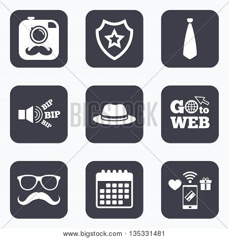 Mobile payments, wifi and calendar icons. Hipster photo camera with mustache icon. Glasses and tie symbols. Classic hat headdress sign. Go to web symbol.