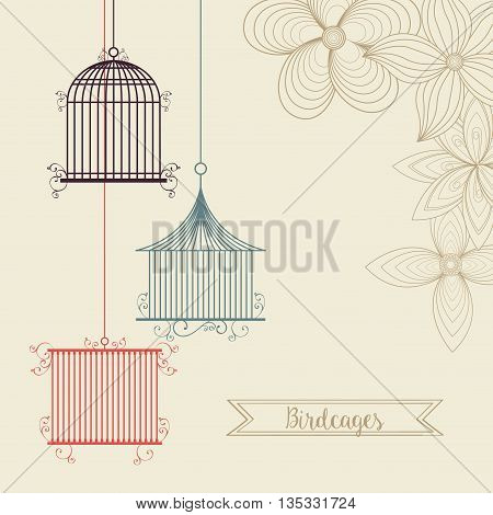 Decoration object concept represented by cute birdcages over flower backgroung illustration, flat and colorfull design