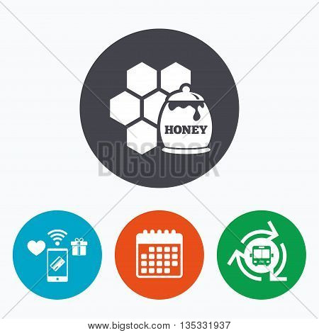 Honey in pot and honeycomb sign icon. Honey cells symbol. Sweet natural food. Mobile payments, calendar and wifi icons. Bus shuttle.