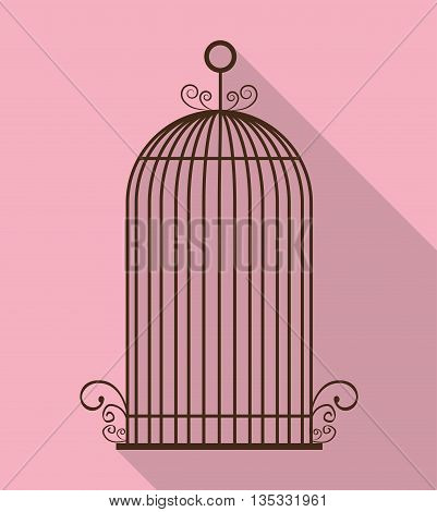 Decoration object concept represented by cute birdcages illustration, flat and colorfull design