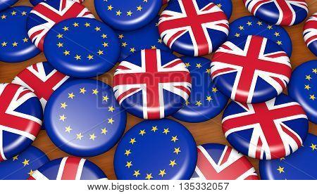 Brexit British referendum financial concept with EU and UK flag on pin badges 3D illustration background.