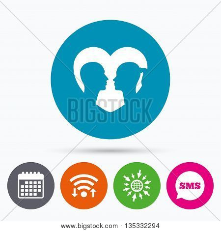 Wifi, Sms and calendar icons. Couple sign icon. Male love female. Lovers with heart. Go to web globe.