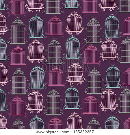 Decoration object concept represented by cute birdcages background illustration, flat and colorfull design