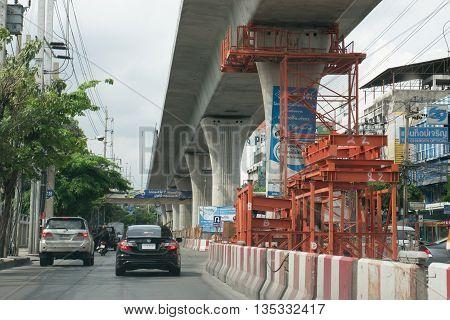 BANGKOK THAILAND - 2016 JUNE 6 : The construction site of the BTS line project (The Bangkok Mass Transit System) in Bangkok Thailand.