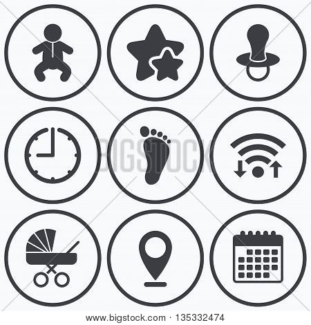 Clock, wifi and stars icons. Baby infants icons. Toddler boy with diapers symbol. Buggy and dummy signs. Child pacifier and pram stroller. Child footprint step sign. Calendar symbol.