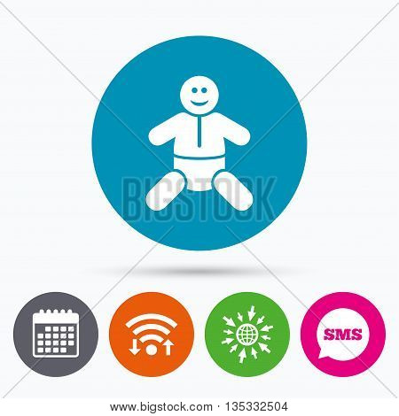 Wifi, Sms and calendar icons. Baby infant sign icon. Toddler boy with diapers symbol. Child WC toilet. Go to web globe.