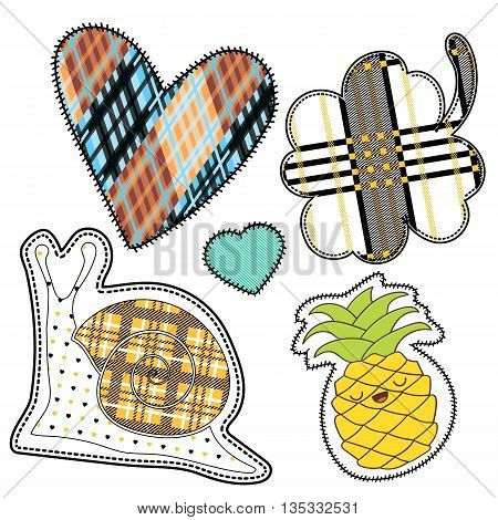 happy colorful patches collection vintage style. Pin trendy label patch sticker vector illustration decoration.