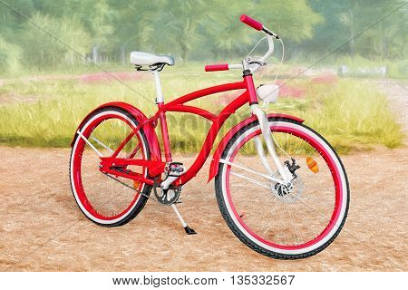 Red bike against strongly stylized summer park landscape