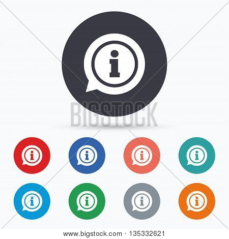 Information sign icon. Info symbol. Flat information icon. Simple design information symbol. Information graphic element. Circle buttons with information icon. Vector