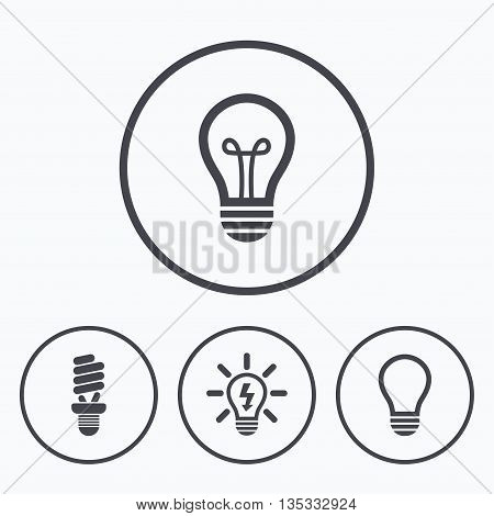 Light lamp icons. Fluorescent lamp bulb symbols. Energy saving. Idea and success sign. Icons in circles.