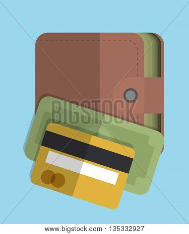 Money represented by bill and wallet icon. Colorfull and flat illustration