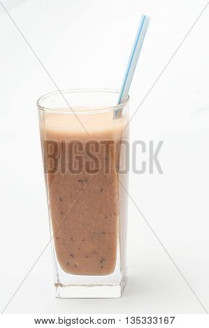 Smoothie shake blend in glass with straw chocolate on white background