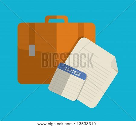 Office represented by suitcase and papers design. Colorfull and flat illustration