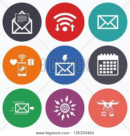 Wifi, mobile payments and drones icons. Mail envelope icons. Message document delivery symbol. Post office letter signs. Inbox and outbox message icons. Calendar symbol.
