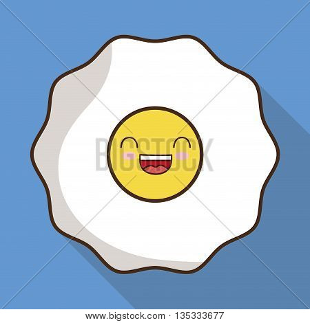 Breakfast represented by kawaii cartoon egg design. Colorfull and flat illustration
