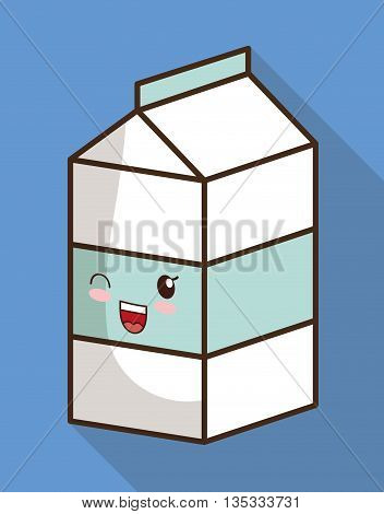 Breakfast represented by kawaii cartoon milk design. Colorfull and flat illustration