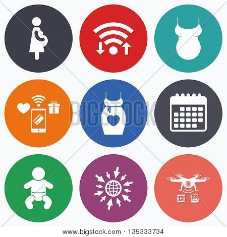 Wifi, mobile payments and drones icons. Maternity icons. Baby infant, pregnancy and shirt signs. Dress with heart symbol. Calendar symbol.