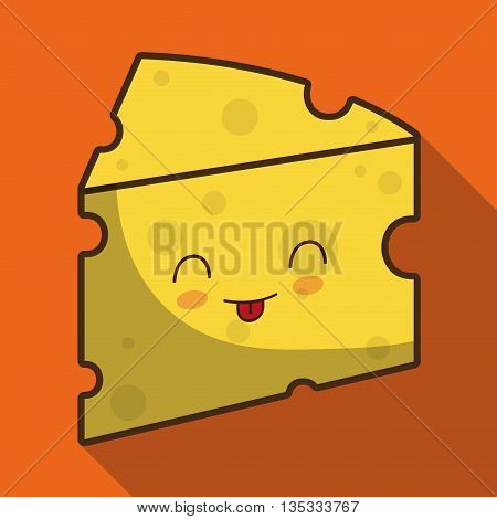 Breakfast represented by kawaii cartoon cheese design. Colorfull and flat illustration