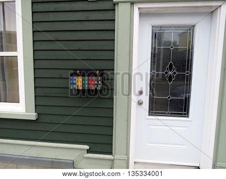 Door of house in St. John's in Newfoundland 15 June 2016 Canada