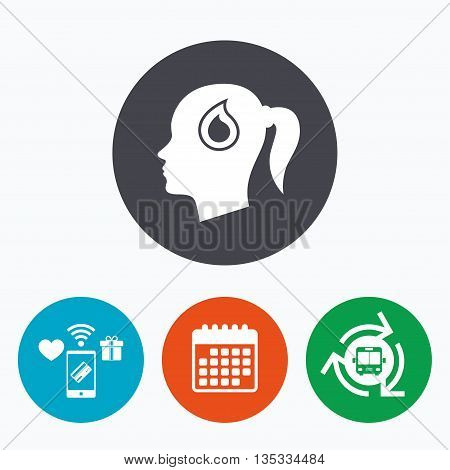 Head with blood drop sign icon. Female woman human head symbol. Mobile payments, calendar and wifi icons. Bus shuttle.