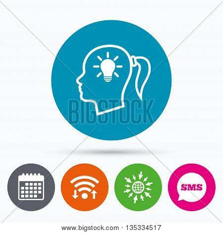 Wifi, Sms and calendar icons. Head with lamp bulb sign icon. Female woman human head idea with pigtail symbol. Go to web globe.