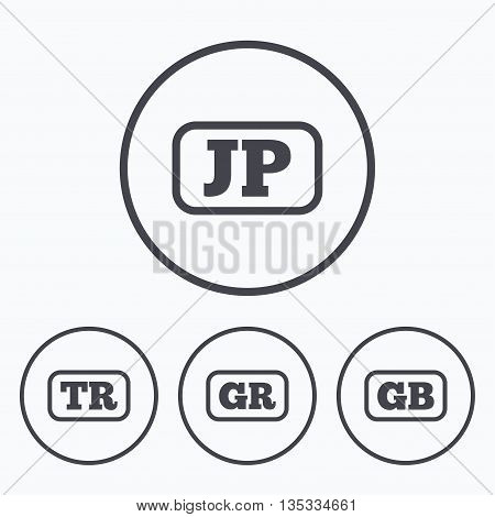 Language icons. JP, TR, GR and GB translation symbols. Japan, Turkey, Greece and England languages. Icons in circles.