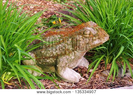 Mossy Concrete Frog Yard Art, Yard Ornament