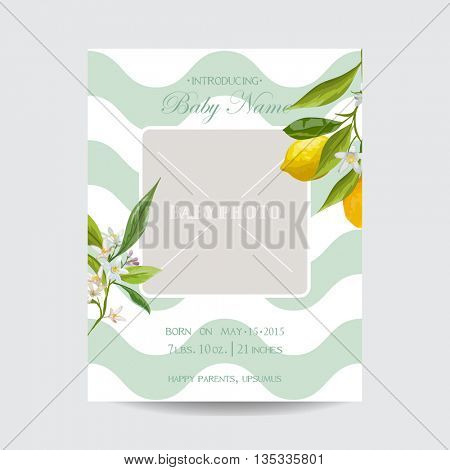 Baby Arrival Card with Photo Frame - Blossom Lemon Flowers Theme - in vector