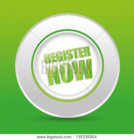 Register now design over green background, vector illustration.