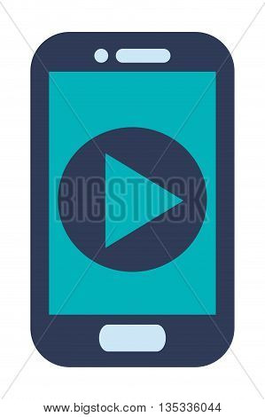 blue cellphone with front button with play icon on screen vector illustration