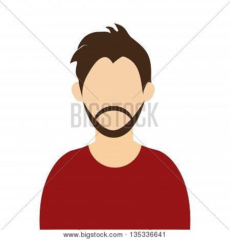caucasian man with brown hair and beard wearing sweatshirt avatar vector illustration