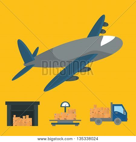 Delivery design over yellow background, vector illustration.