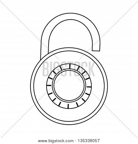 open safety lock with password on front vector illustration