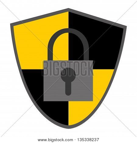 black and yellow shield with grey safety lock vector illustration