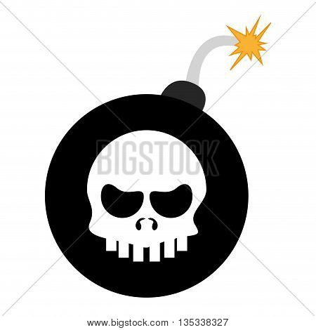black bomb with skull in the center vector illustration