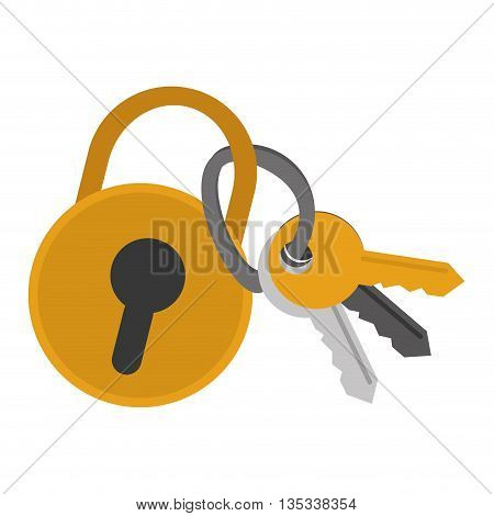 yellow safety lock with keyhole on front and key attached vector illustration